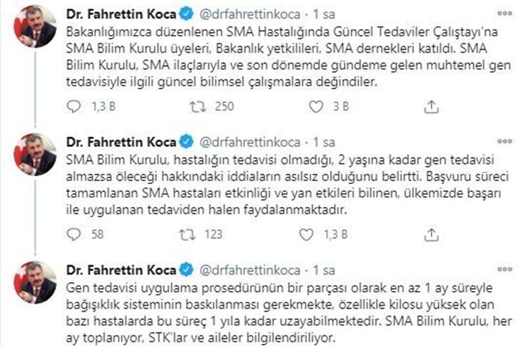 Sağlık Bakanı Fahrettin Koca'nın SMA mesajı