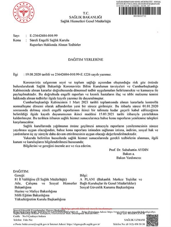 Sağlık Bakanlığı Sağlık İl Müdürlükleri yazısı.
