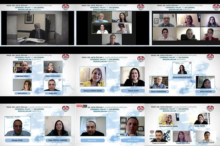 Prof. Dr. Hıfzı Özcan 8. Uluslararası Katılımlı Cerebral Palsy ve Gelişimsel Bozukluklar Kongresi ekran görüntüsünde  26 konuşmacı ve moderatörlerin yer aldığı ekran görüntüleri.