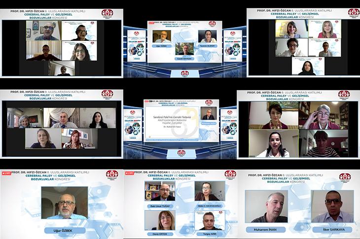 Prof. Dr. Hıfzı Özcan 8. Uluslararası Katılımlı Cerebral Palsy ve Gelişimsel Bozukluklar Kongresine katılan 30 konuşmacı ve moderatörlerin yer aldığı  ekran görüntüsü.