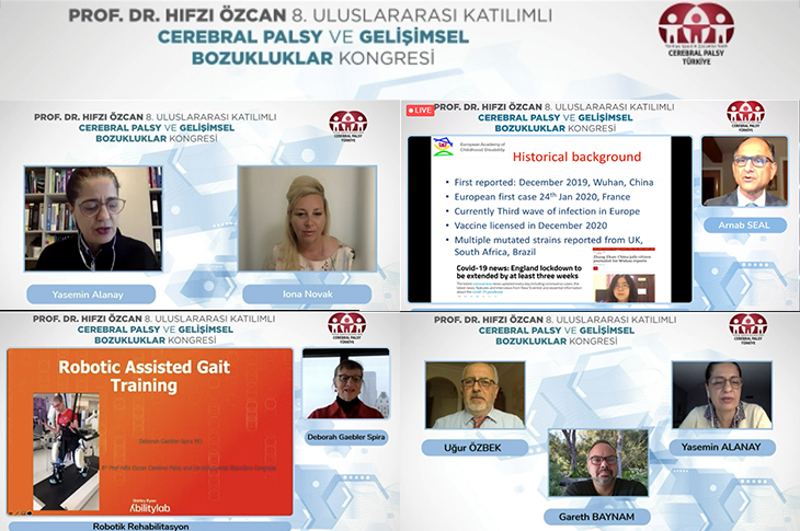 Iona  Novak, Arnab Seal, Doborah Geabler ve Gareth Baynam'ın yan yan online konuşma anının ekran görüntüleri.